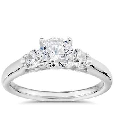 Royal Crown Three-Stone Diamond Engagement Ring in Platinum (1/3 ct. tw.)
