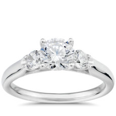 Royal Crown Three-Stone Diamond Engagement Ring in Platinum (0.29 ct. tw.)