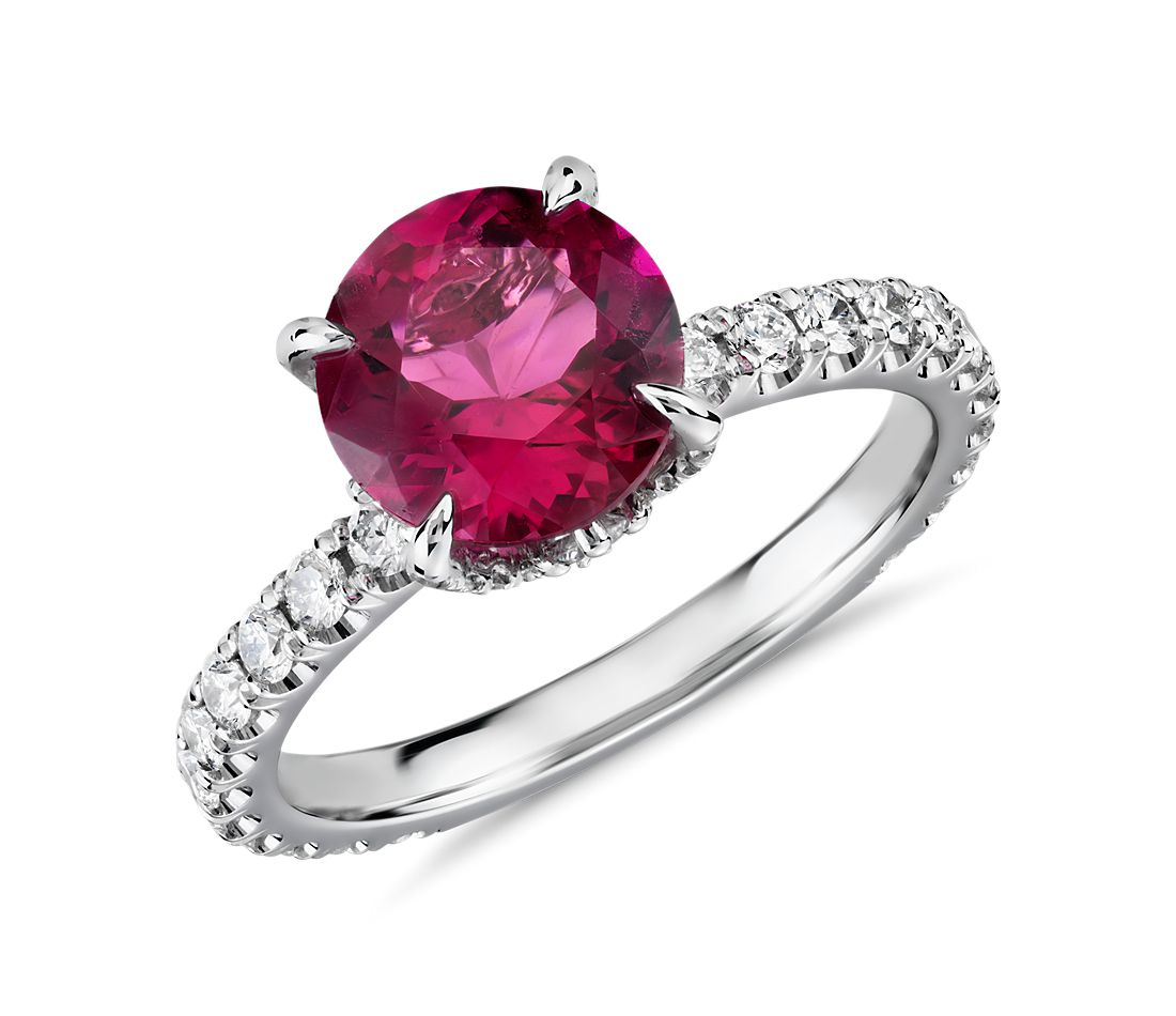 Bague tourmaline rubellite rose et couronne de diamants en or blanc 18 carats (8 mm)