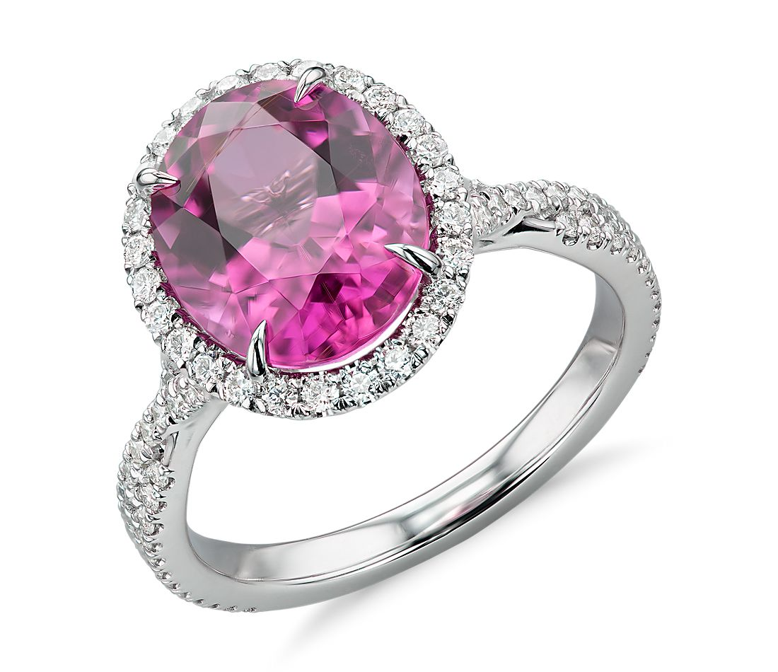 Rubellite Tourmaline and Diamond Halo Ring in 18k White Gold (3.64 ct. tw.)