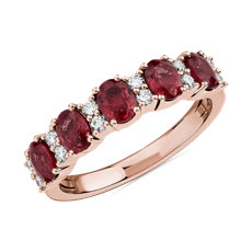 NEW Ruby and Diamond Five-Stone Ring in 14k Rose Gold