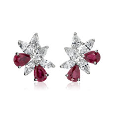 Ruby and Diamond Cluster Earring in 18k White Gold