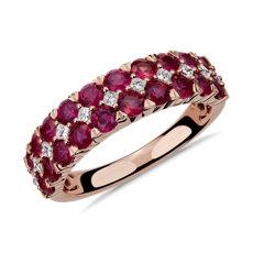 Bague double rangée de diamants et rubis en or rose 14carats
