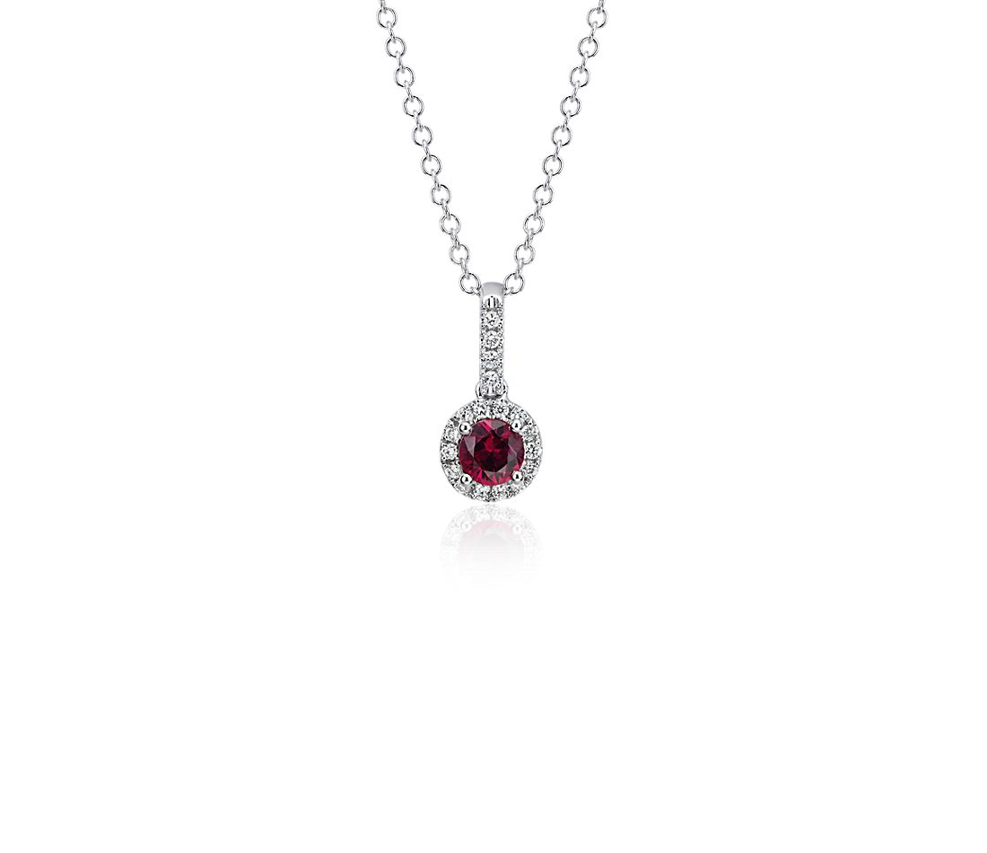 Ruby and Diamond Drop Pendant in 14k White Gold (4mm)
