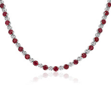 新款 14k 白金紅寶石與鑽石永恆項鍊