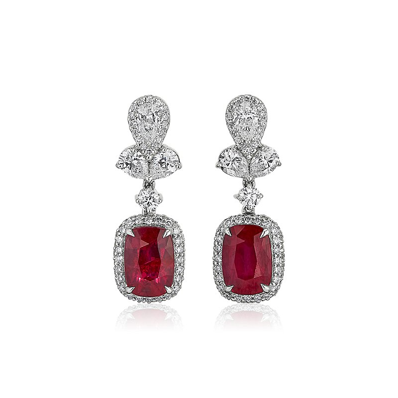 Ruby and Diamond Flourish Drop Earrings in 18k White Gold