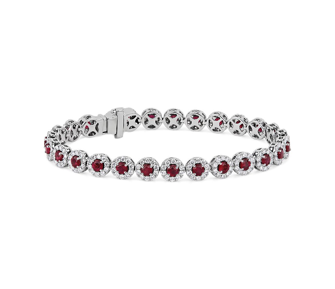 Ruby and Diamond Halo Bracelet in 14k White Gold
