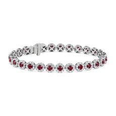 新款 14k 白金紅寶石與鑽石光環手鍊