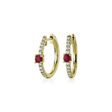 NEW Ruby and Diamond Hoop Earrings in 14k Yellow Gold
