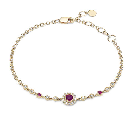 Ruby and Diamond Vintage Inspired Bracelet in 14k Yellow Gold (3.5mm)