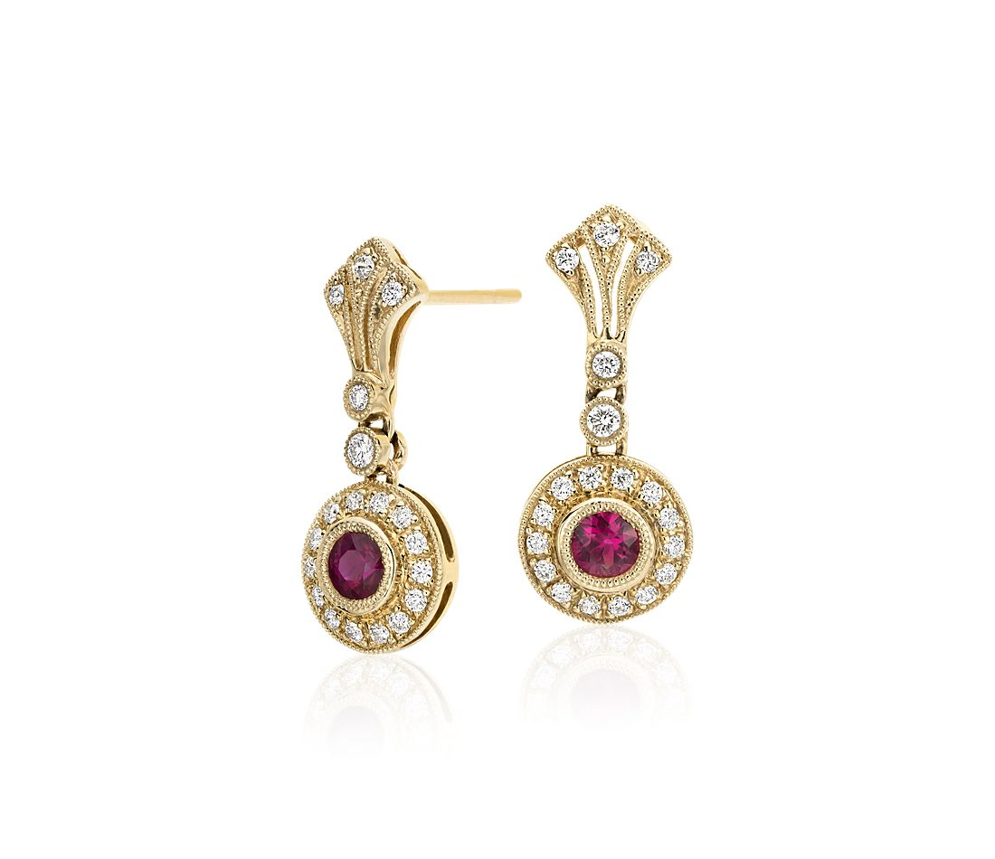 Ruby And Diamond Vintage Inspired Milgrain Drop Earrings In 14k Yellow Gold 3 5mm