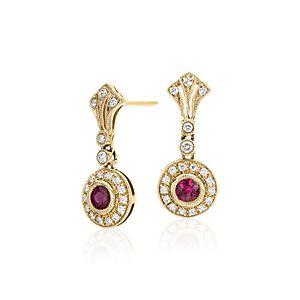 Aretes con rubí y diamante con diseño milgrain de estilo vintage en oro amarillo de 14k (3,5mm)
