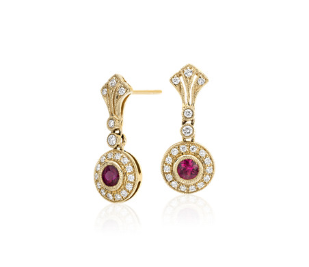Ruby and Diamond Vintage-Inspired Milgrain Drop Earrings in 14k Yellow Gold (3.5mm)