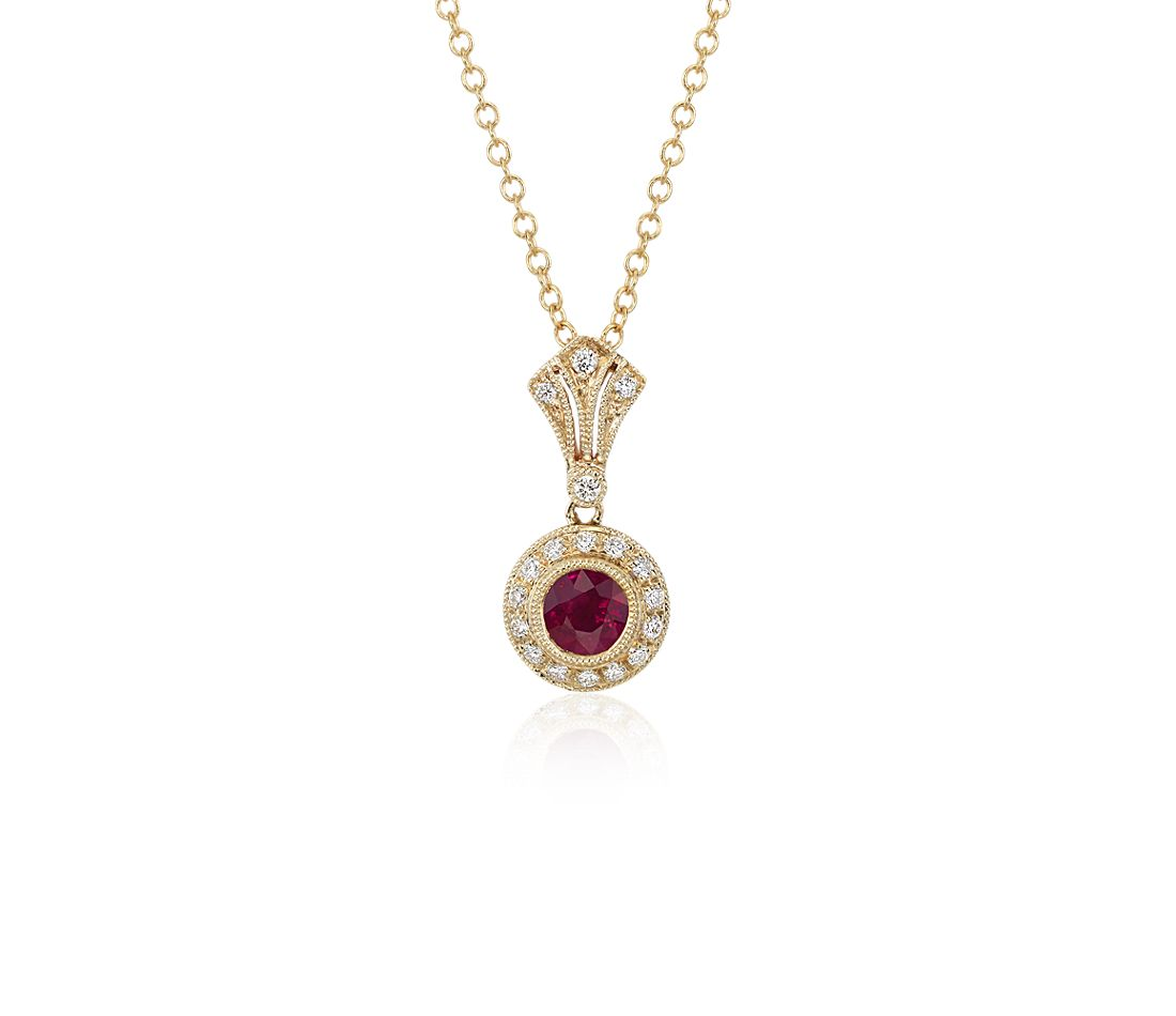 Ruby and Diamond Vintage-Inspired Milgrain Pendant in 14k Yellow Gold  (4mm)