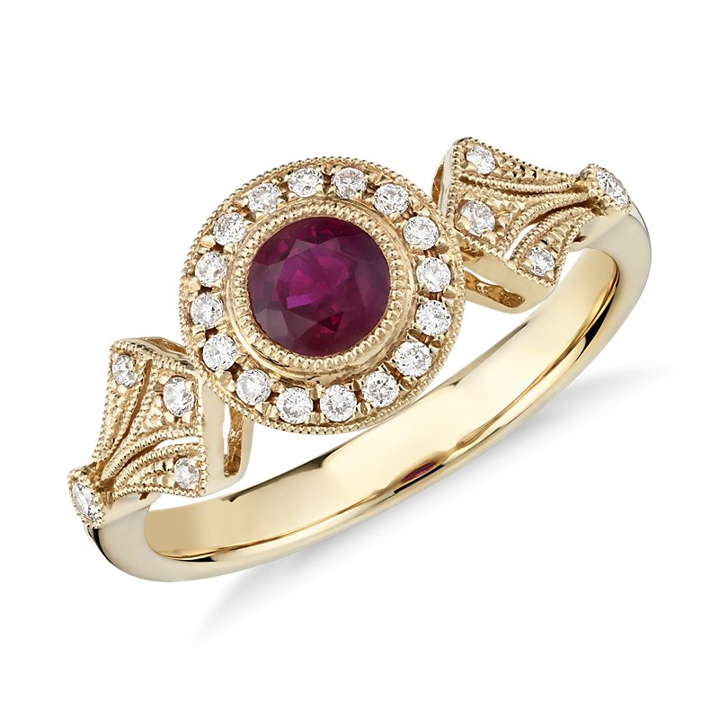 Ruby and Diamond Halo Vintage-Inspired Milgrain Ring in 14k Yello