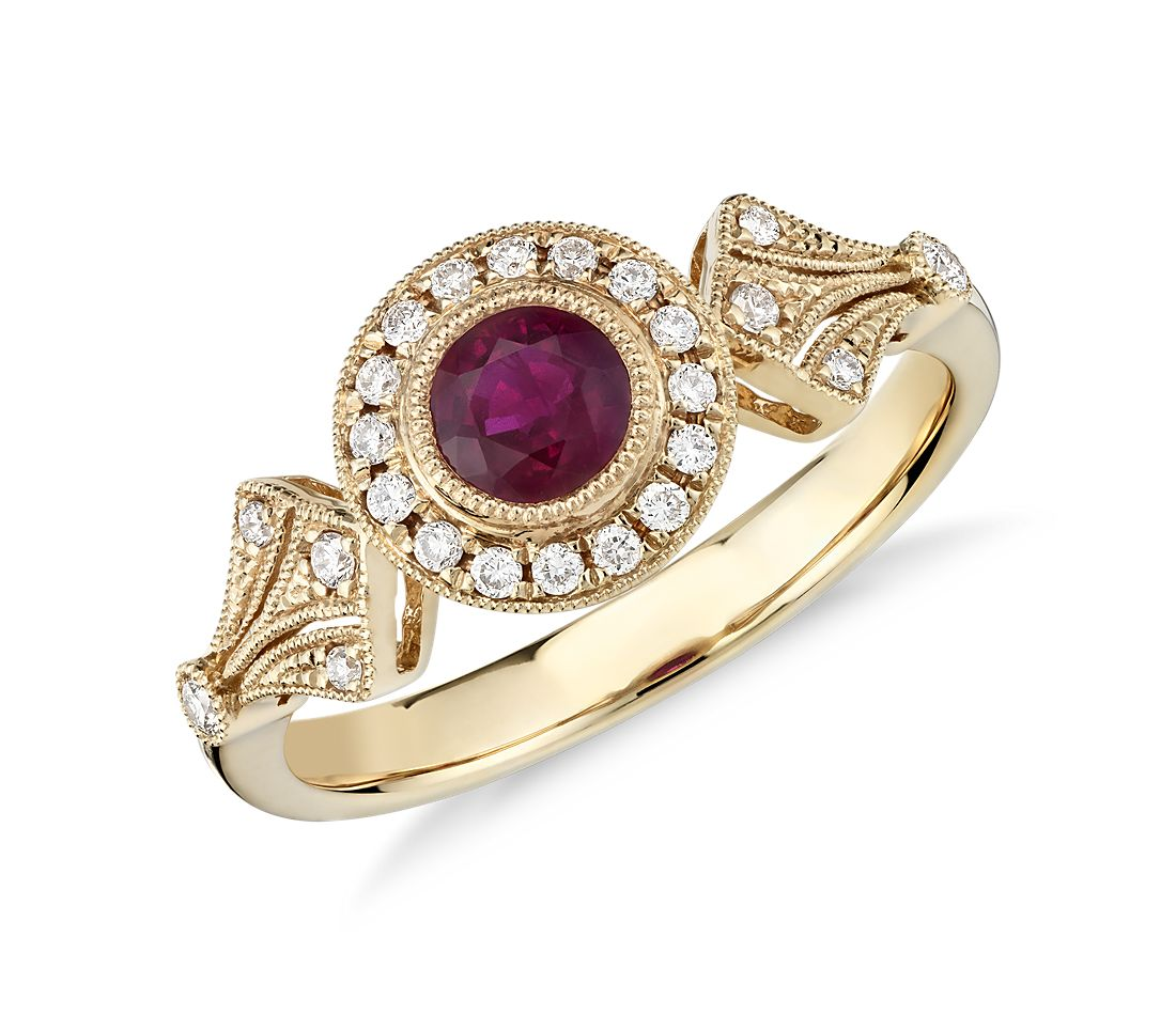 4976f446ba4a18 Ruby and Diamond Halo Vintage-Inspired Milgrain Ring in 14k Yellow Gold  (4mm) | Blue Nile