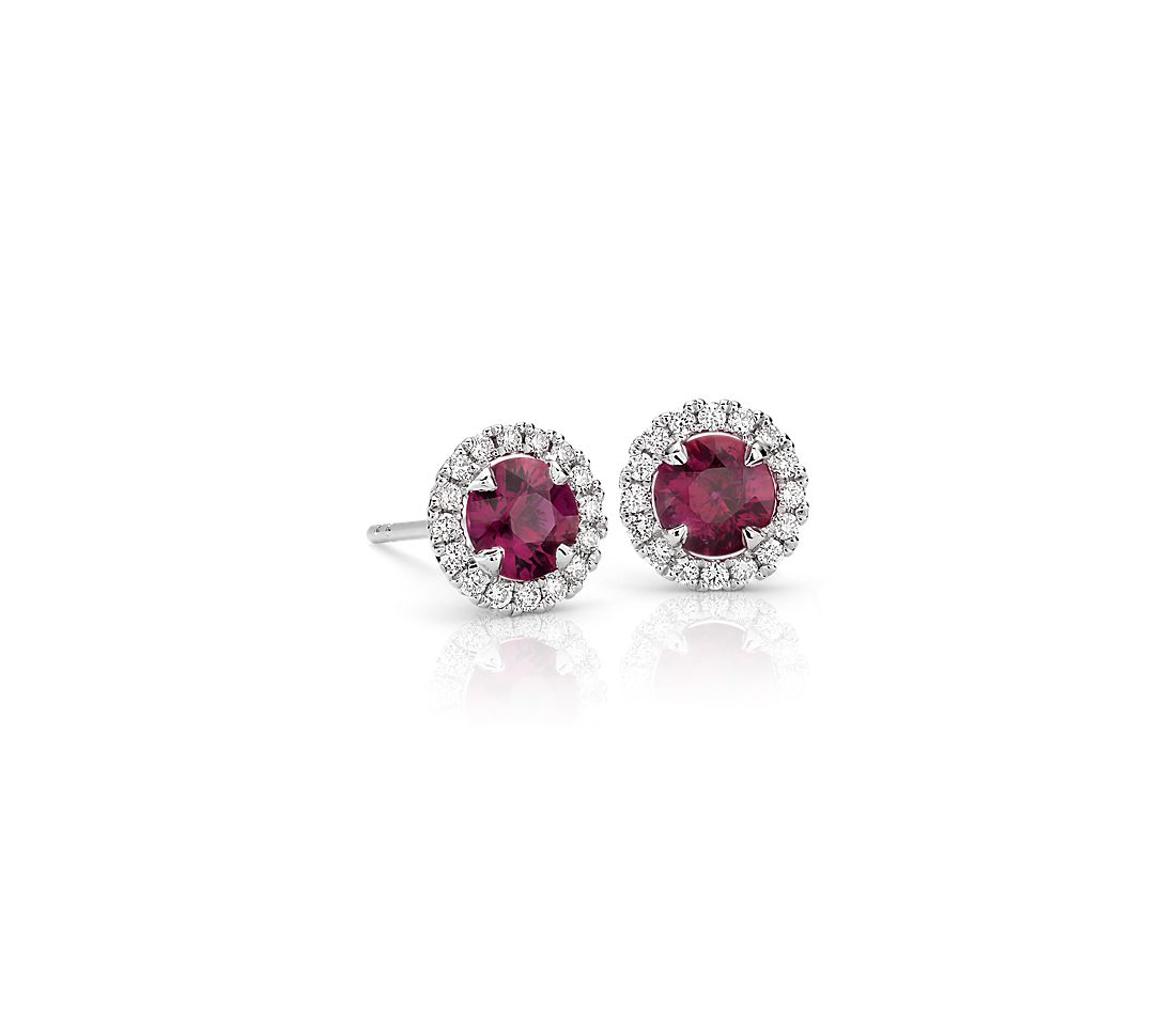 Ruby and Micropavé Diamond Stud Earrings in 18k White Gold (5mm)