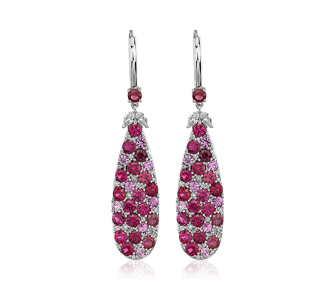 Ruby and Pink Sapphire Diamond Drop Earrings in 18k White Gold