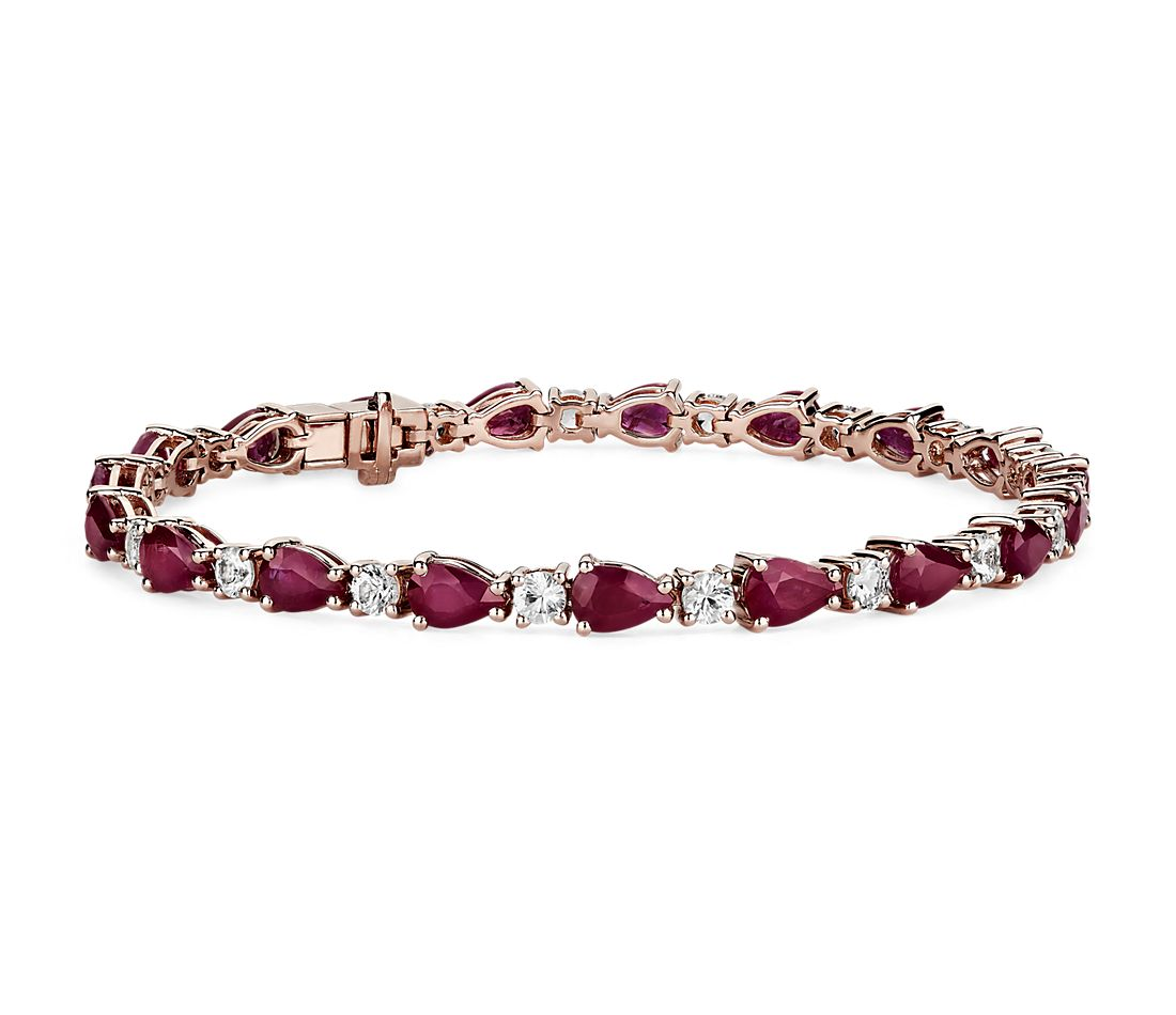 Ruby & White Sapphire Bracelet in 14k Rose Gold