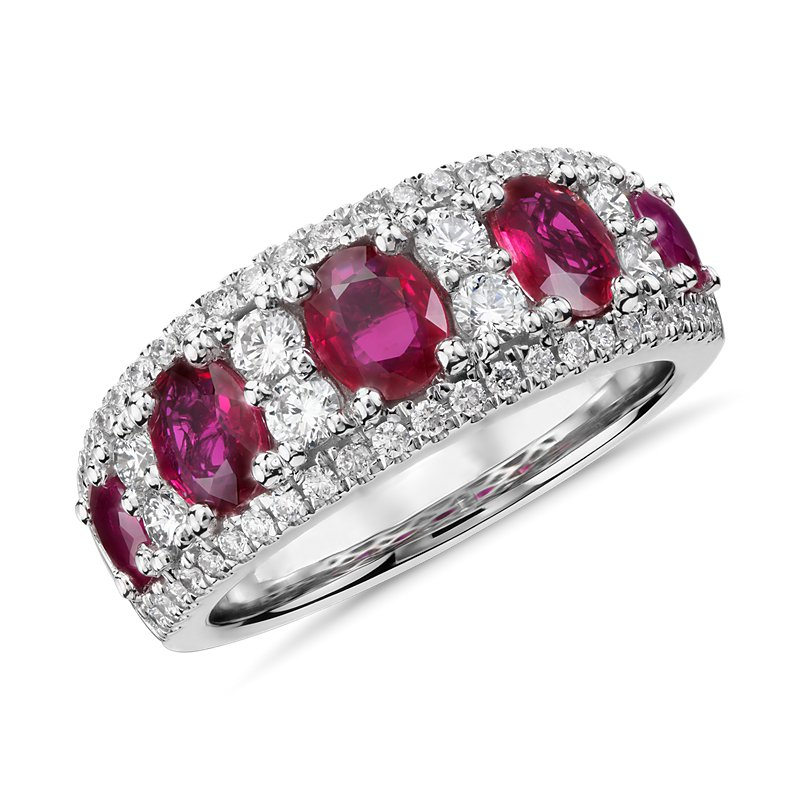 Oval Ruby and Diamond Ring in 14k White Gold (0.55 ct. tw.)
