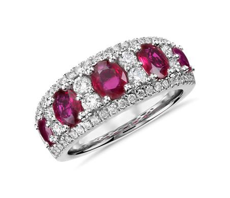 14k 白金 橢圓紅寶石與鑽石戒指<br>( 0.55 克拉總重量)