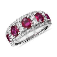 14k 白金橢圓紅寶石與鑽石戒指(0.55 克拉總重量)