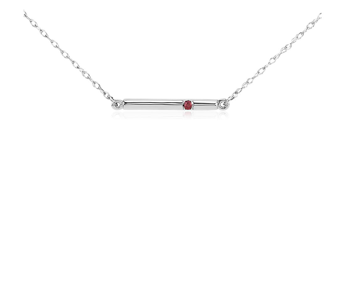 Ruby Bar Necklace in 14k White Gold