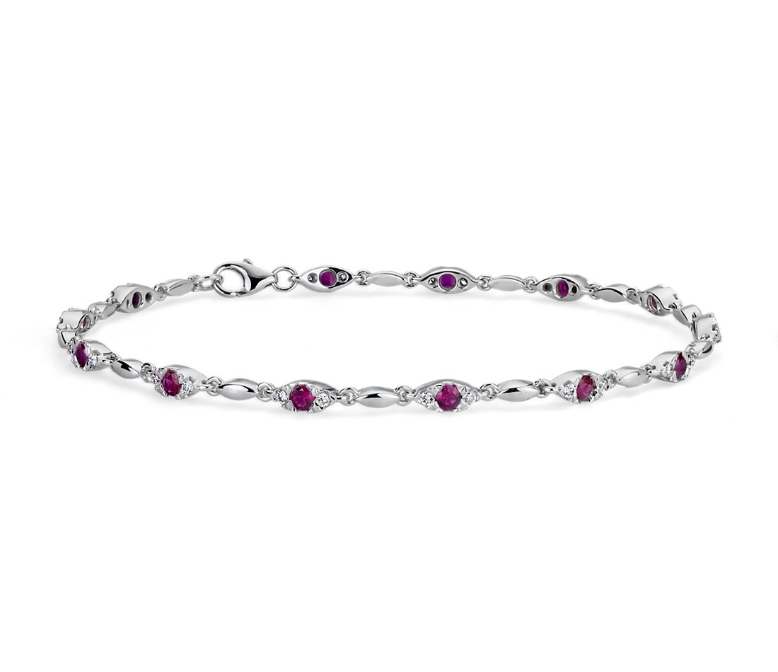 Ruby and Diamond Bracelet in 14k White Gold (2-2.4mm)