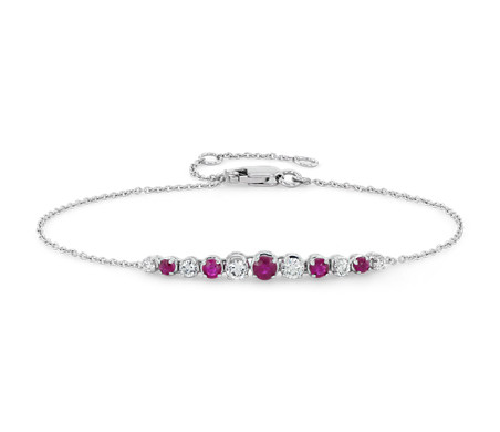 Ruby and Diamond Graduated Curve Bracelet in 14k White Gold