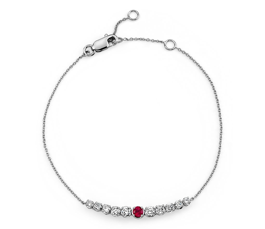 Ruby and Diamond Graduated Curve Bracelet in 14k White Gold (2.9mm)