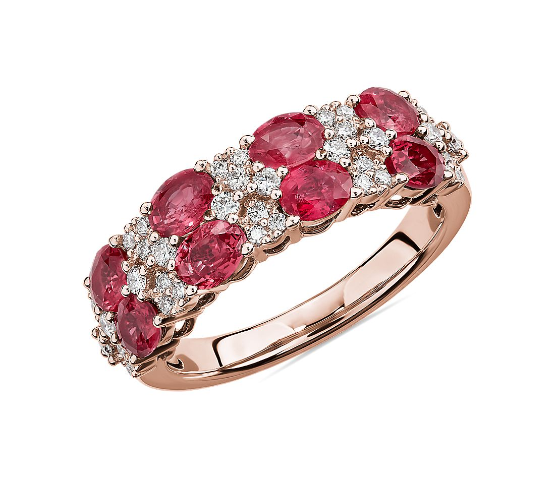 Bague double rang avec rubis ovales et diamants ronds en or rose 14 carats
