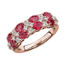 Oval Ruby & Round Diamond Double Row Ring in 14k Rose Gold