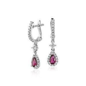 Pendants d'oreilles diamant et rubis en or blanc 14carats (5x3mm)