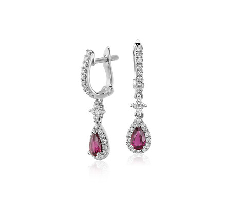 Blue Nile Petite Ruby and Diamond Pave Huggie Hoop Earrings in 14k White Gold (1.9mm) stLIR6