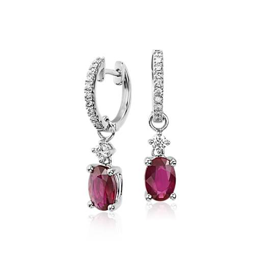 Ruby And Diamond Drop Earrings In 14k White Gold 7x5mm