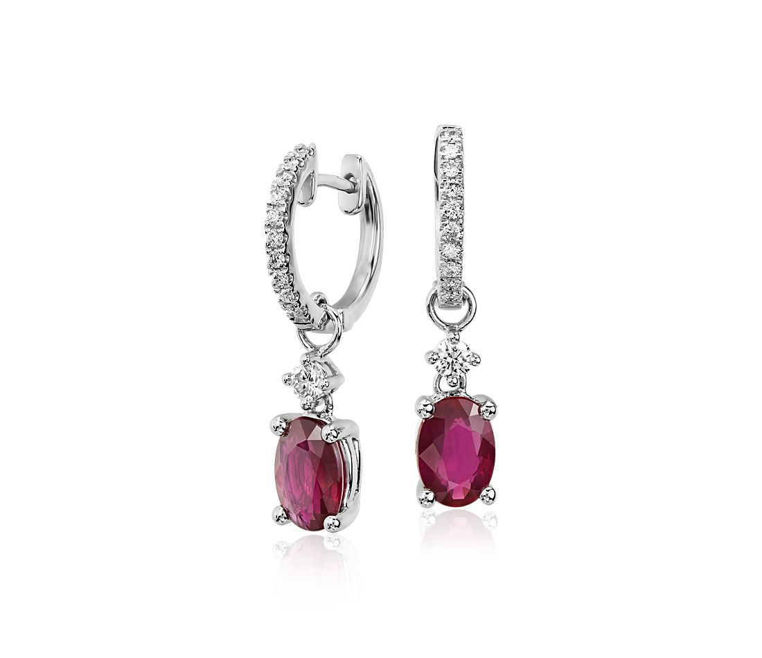 Ruby and Diamond Drop Earrings in 14k White Gold (7x5mm)