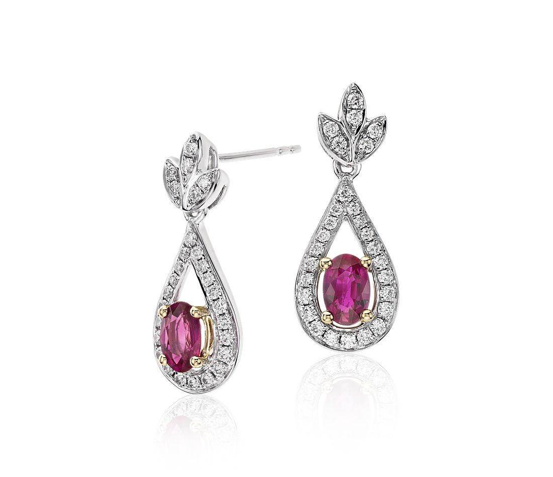 Ruby And Diamond Drop Earrings In 18k White Yellow Gold 6x4mm