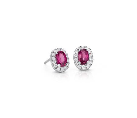 14k 白金椭圆红宝石与密钉钻石耳环<br>(6x4毫米)
