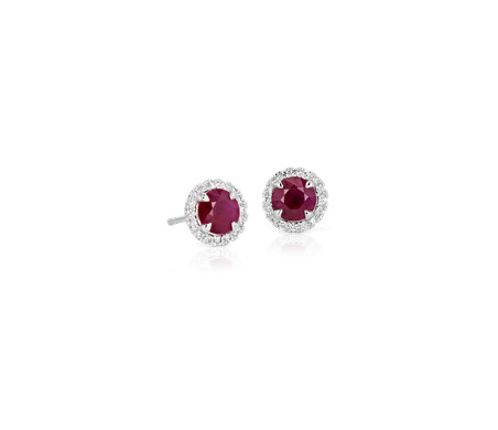 Ruby and Micropavé Diamond Earrings in 18k White Gold (5mm)