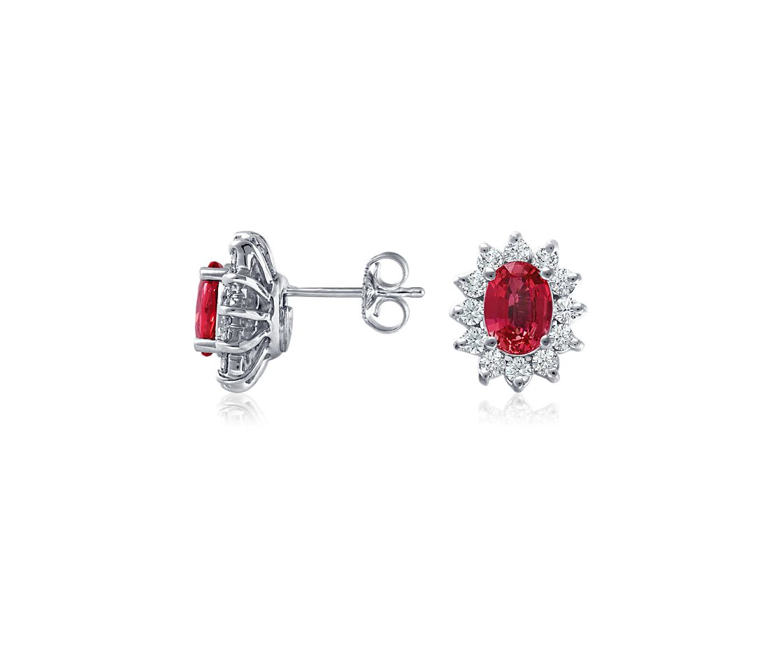 Ruby and Diamond Earrings in 18k White Gold (7x5 mm)