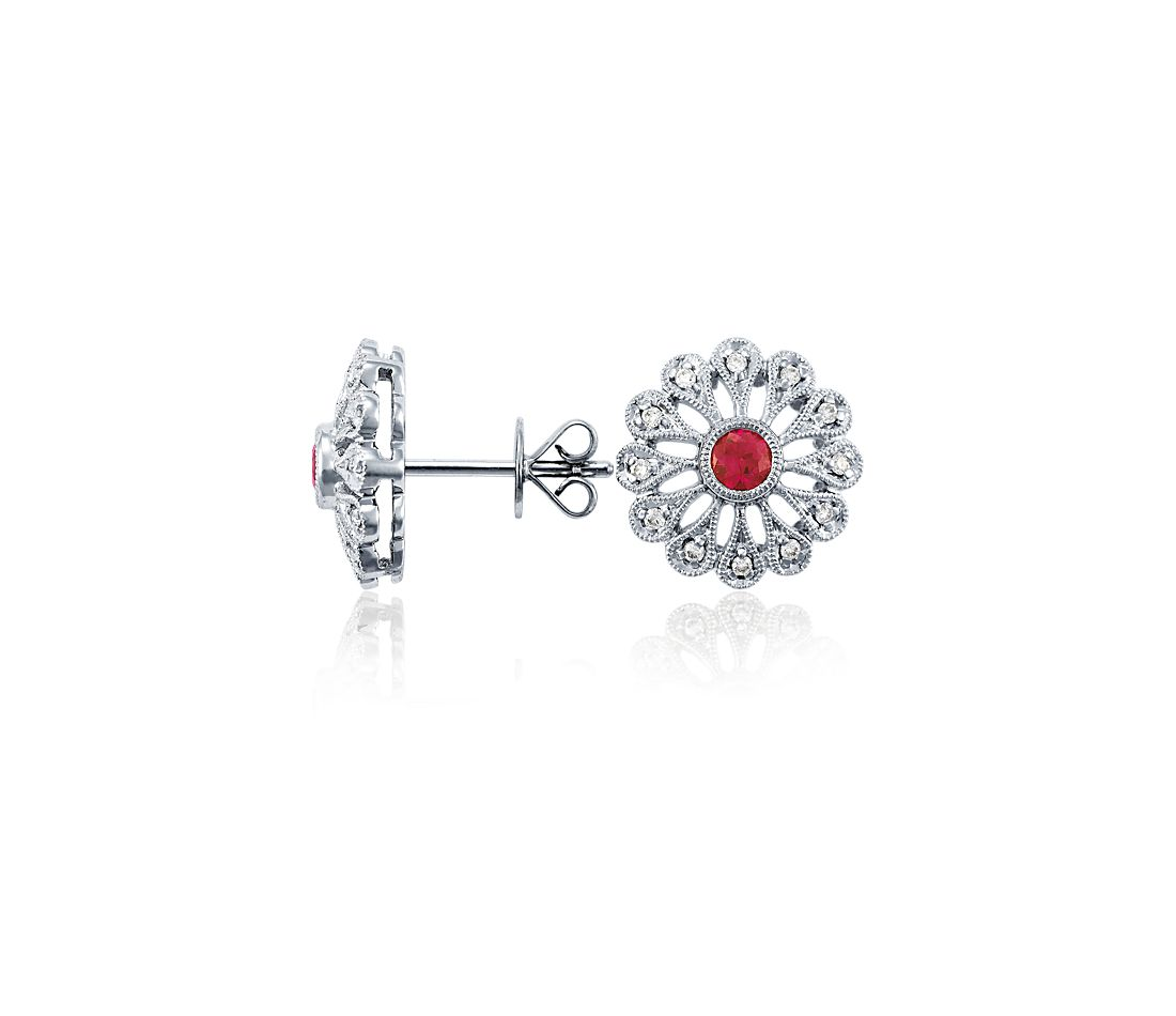 Ruby and Diamond Filigree Earrings in 18k White Gold (0.10 ct. tw.)