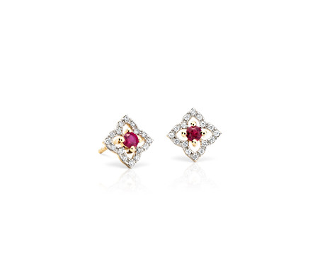 Petite Ruby Floral Stud Earrings in 14k Yellow Gold (2.4mm)