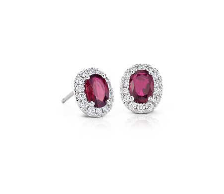 Grandes boucles d'oreilles halo de diamants et rubis en or blanc 18 carats (7 x 5 mm)