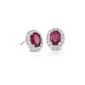 Grande Ruby and Diamond Halo Earrings in 18k White Gold (7x5mm)