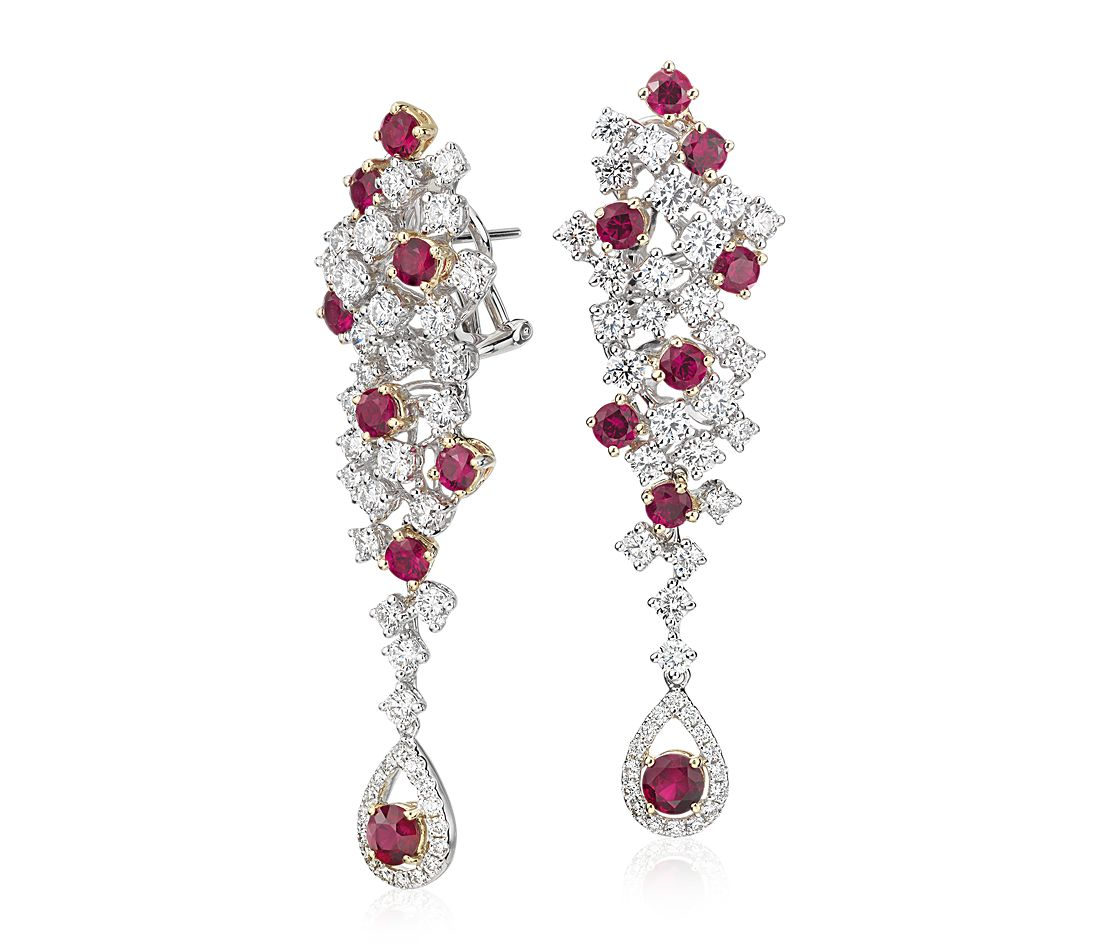 Ruby and Diamond Cascade Drop Earrings in 18k White Gold (2.67 ct. tw.)