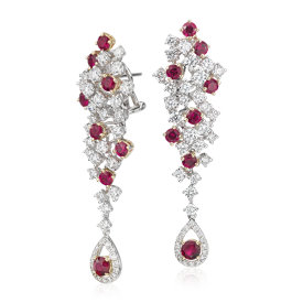NEW Ruby and Diamond Casade Drop Earrings in 18k White Gold (2.67 ct. tw.)