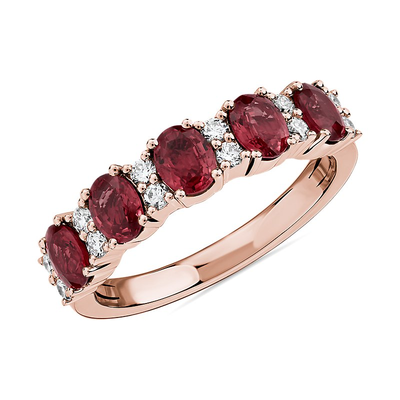 Ruby and Diamond Five-Stone Ring in 14k Rose Gold
