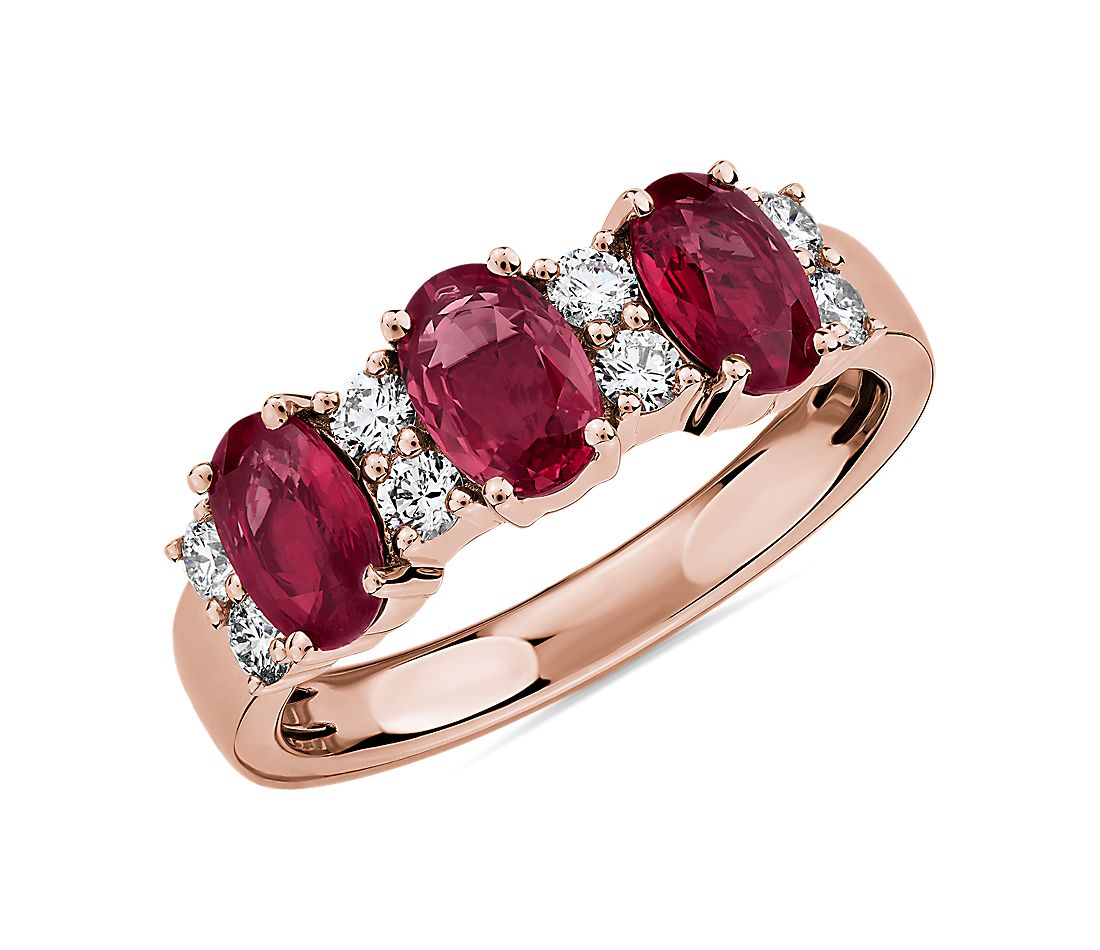 Ruby and Diamond Three-Stone Ring in 14k Rose Gold