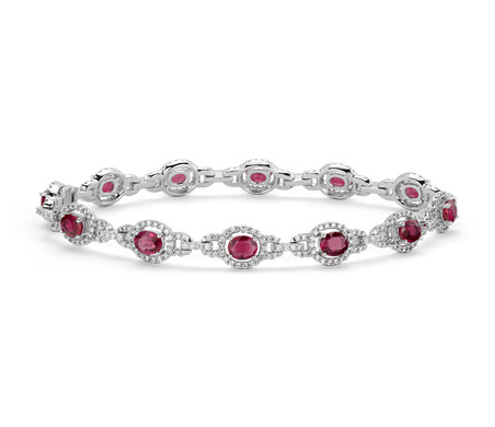 Ruby and Diamond Halo Bracelet in 14k White Gold (5x4mm)