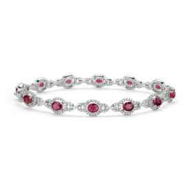 Bracelet rubis et halo de diamants en or blanc 14 carats (5 x 4 mm)